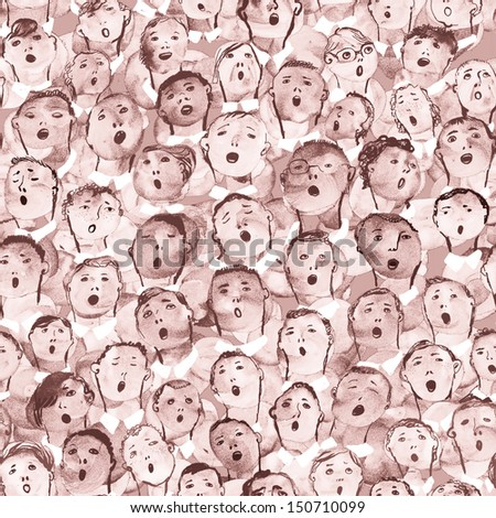 Seamless boys choir hand drawn illustration - stock photo