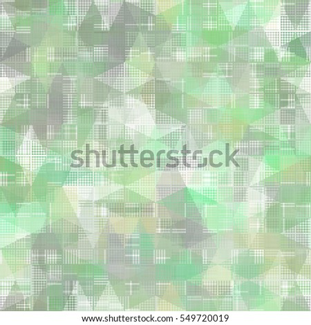 Seamless bright abstract mosaic green background pattern with gloss illustration