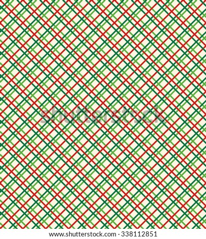 Seamless Bright Abstract Netting Pattern in Christmas Colors Isolated on White Background - stock photo