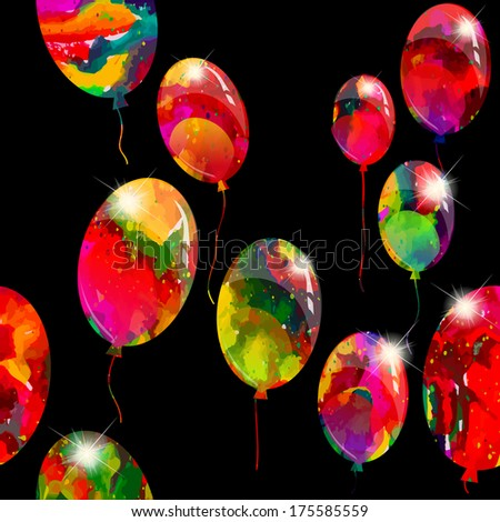 Seamless bright background of rainbow balloons. Raster - stock photo