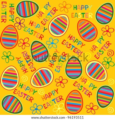 Seamless bright spring pattern with easter eggs. Illustration - stock photo