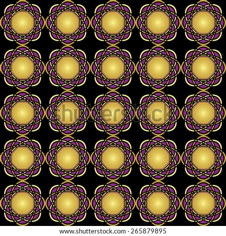 seamless bright vector background with golden geometric elements - stock photo