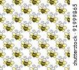 Seamless Bumblebees on White Background - stock