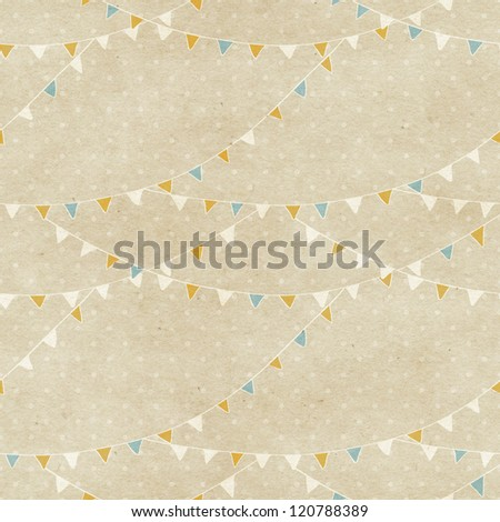 Seamless bunting flags pattern on paper texture - stock photo