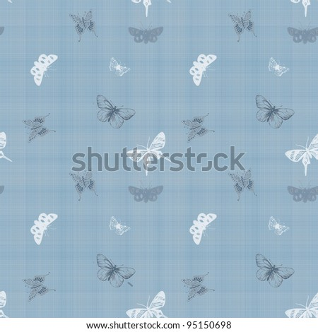 Seamless Butterfly Blue Fabric Background Wallpaper - stock photo