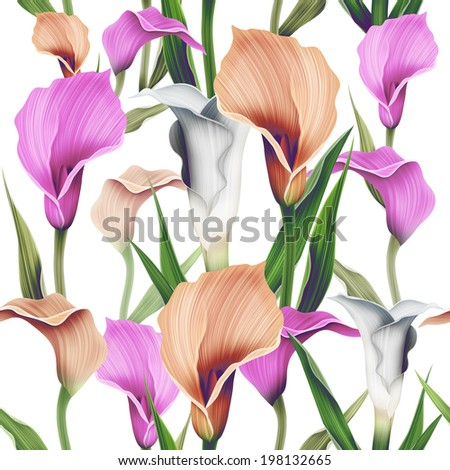 Seamless calla lilly flower background, elegant fashion colorful pattern with flowers - stock photo
