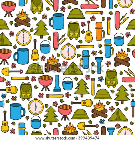 Seamless Camping Background In Cartoon Hand Drawn Style Tent Flashlight Match Compass