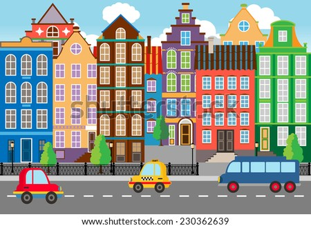 Seamless Cartooned Cartooned City Life Portrait. Designed with Huge Buildings along the Street. - stock photo