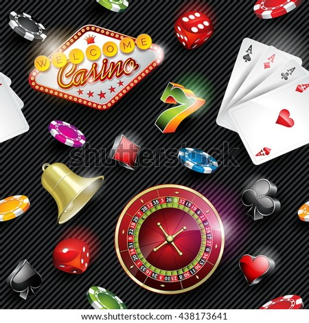 Seamless casino pattern illustration with gambling elements on dark striped background.