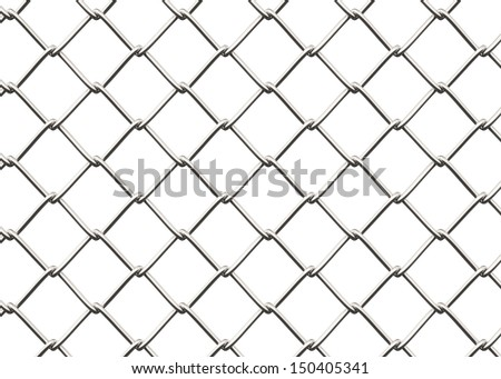 Seamless Chainlink Fence , Isolated on white