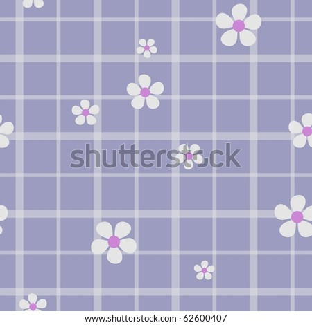 Seamless checkered with flowers - stock photo