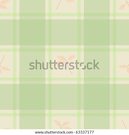 Seamless checkered with leaves - stock photo