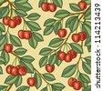 Seamless cherry background - stock vector