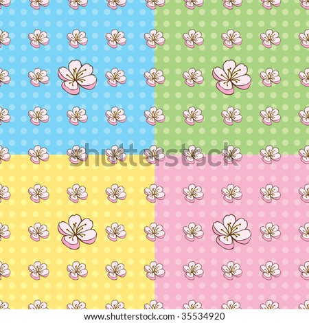 Seamless Cherry Blossom Pattern in four colors