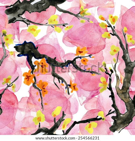 seamless cherry blossoms. background of blooming red flowers. symbol of spring - Japanese cherry Sakura. watercolor pattern branch blooming. Watercolor - stock photo