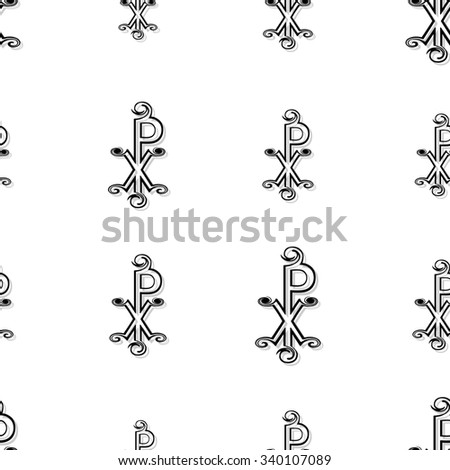 Seamless CHI RHO pattern in black on white on white background - stock photo
