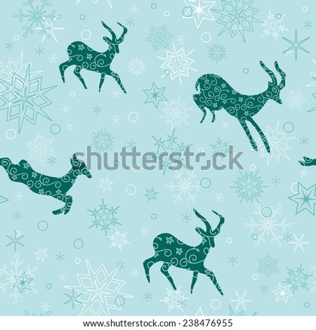 seamless christmas background with emerald goats - stock photo
