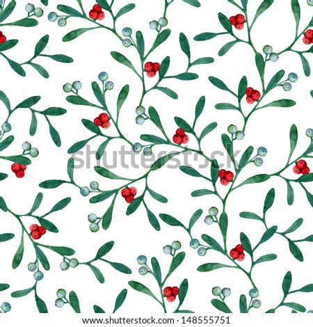 Seamless christmas background with mistletoe branches. Watercolor painting - stock photo