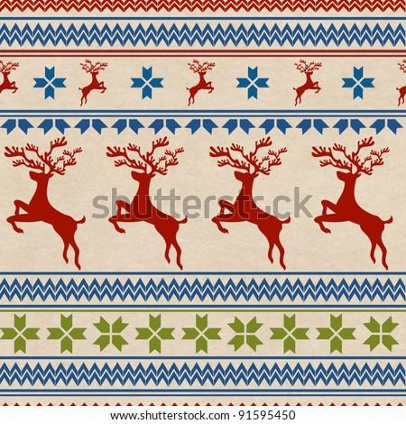 Seamless Christmas background with scandinavian pattern - stock photo