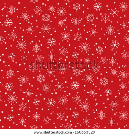 Seamless Christmas Background with Snowflakes and Stars - stock photo