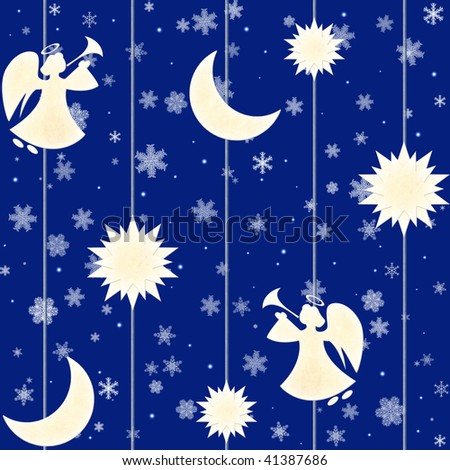 Seamless Christmas blue background with angels and snowflakes - stock photo