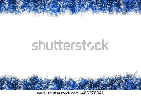 Seamless Christmas blue silver tinsel frame. Isolated on a white background.
