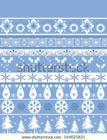 Seamless christmas ornament pattern on blue background