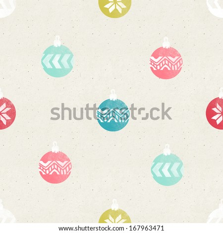 Seamless Christmas ornaments pattern on paper texture.