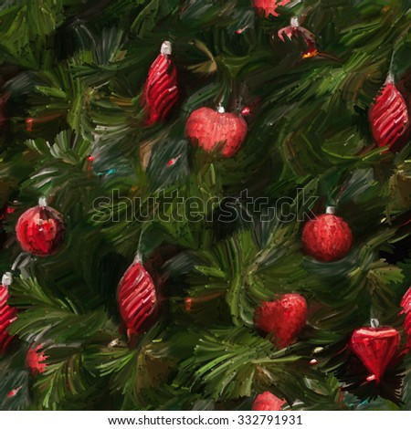 Seamless Christmas pattern in a retro style. Fir-tree with red Christmas ornaments. Drawing oil pastel. - stock photo