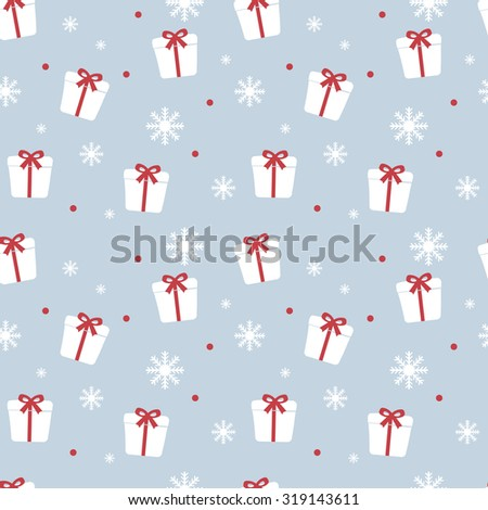 Seamless Christmas pattern. New Year theme. Backgrounds can be copied without any seams. Raster illustration. Winter endless texture can be used for printing onto fabric and paper or scrap booking.  - stock photo