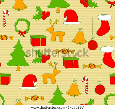 Seamless Christmas pattern. Vector also available in my portfolio. - stock photo