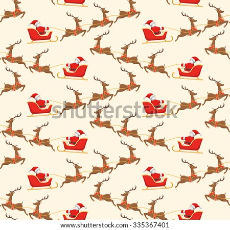 Seamless Christmas Pattern with Santa on Sleigh and His Reindeers Isolated on Beige Background - stock photo