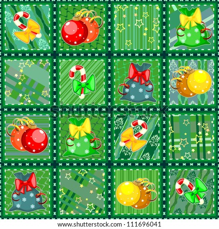 Seamless Christmas quilt background made of snippets with holiday items - stock photo