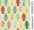 Seamless Christmas Tree Background in Festive Color scheme. Raster Version. - stock photo