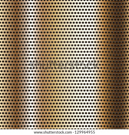 Seamless chrome metal surface, background perforated golden sheet. Vector version also available