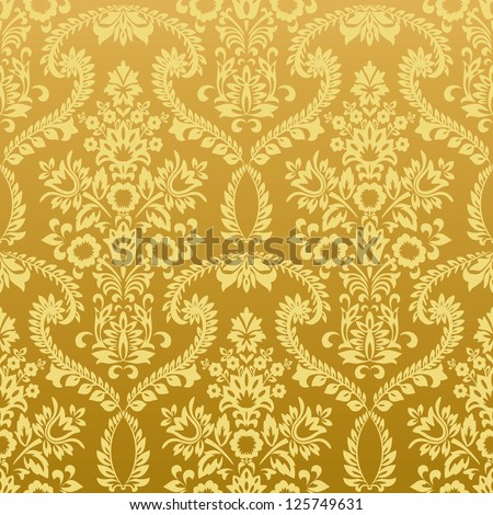 Seamless classic retro gold wallpaper pattern. Nice to use as background. - stock photo