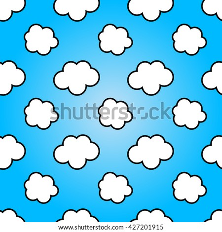Seamless clouds on blue sky abstract background