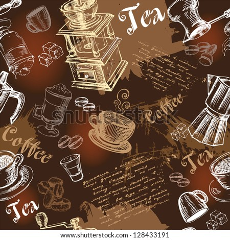 Seamless coffee background with hand drawn elements - stock photo
