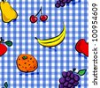 Seamless collection of grungy, crude, rough outline hand drawn fruits with shadows over blue gingham pattern, perfect picnic table cloth. - stock photo