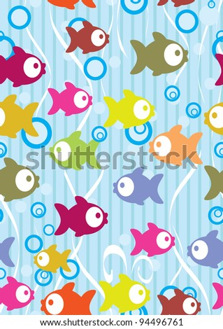 Seamless color background with cute cartoon fish, illustration - stock photo