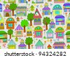 Seamless color background with cute houses and flowers, illustration - stock photo