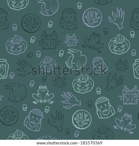 Seamless colored background with Halloween ornament. Halloween Pattern