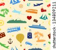 Seamless colored pattern composed of travel and tourism symbols. Raster version. - stock photo