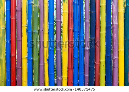 Seamless colorful bamboo stick striped pattern background texture surface