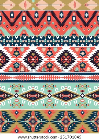 Seamless colorful decorative geometric pattern in tribal american style - stock photo