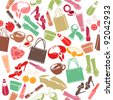 Seamless colorful pattern with woman's things. Raster version. - stock photo