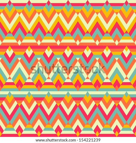 Seamless colorful zigzag raster rhombus ethnic pattern
