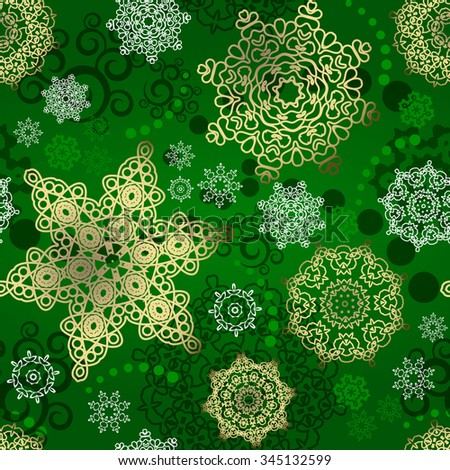Seamless Cristmas background. New Year pattern. White snowflakes on the pink backdrop.  - stock photo