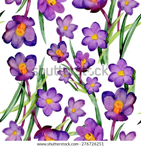 Seamless crocus floral pattern on white background with summer garden flowers, watercolor illustration - stock photo