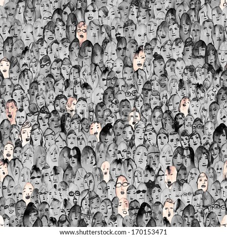 Seamless crowd of people with highlighted yelling eight percent   - stock photo